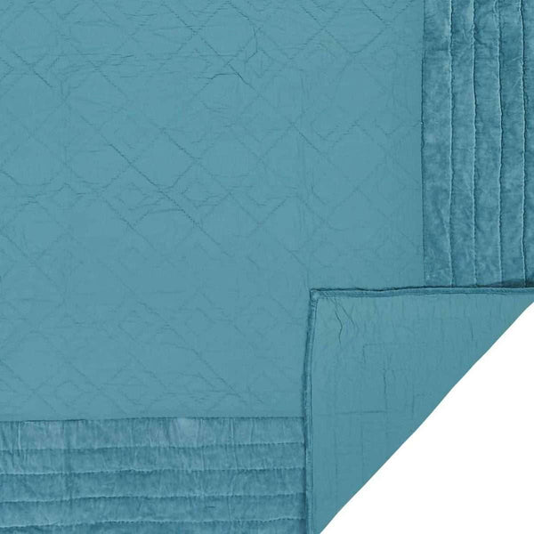 Eleanor Teal Queen Quilt 90Wx90L VHC Brands the fox decor