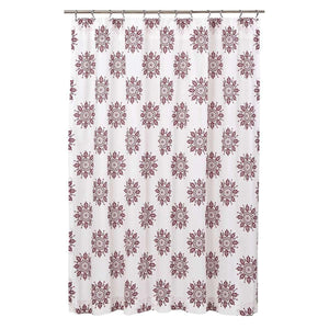 "Mariposa Fuchsia Shower Curtain 72""x 72"" Marshmallow, Turquoise - VHC Brands"