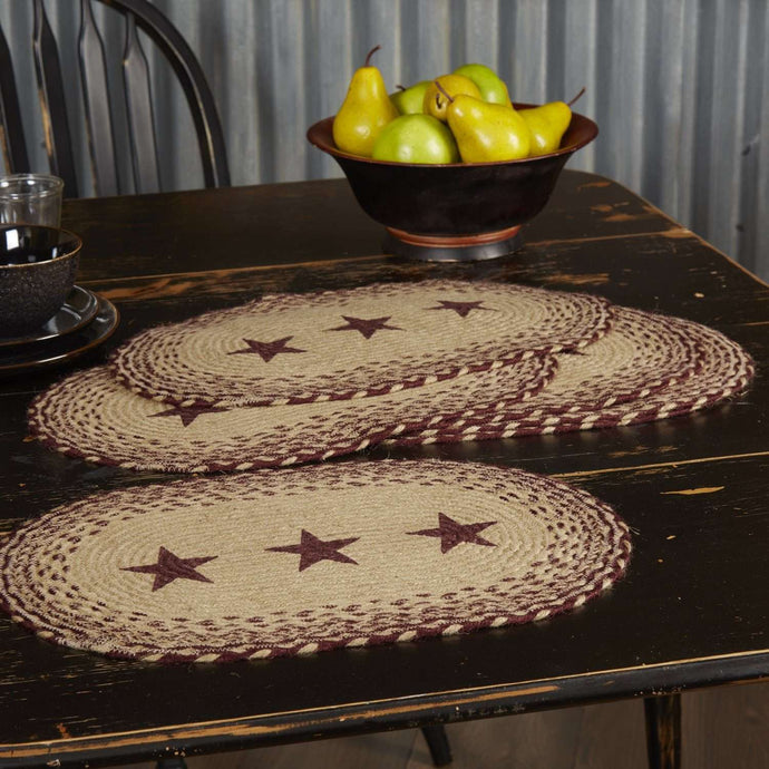 Burgundy Tan Stencil Stars Jute Braided Placemat Set of 6 - The Fox Decor