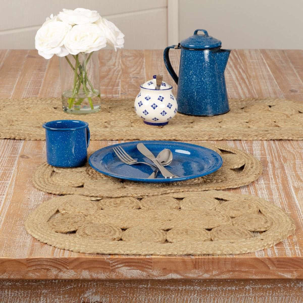 Celeste Jute Braided Placemat Set of 6 VHC Brands - The Fox Decor
