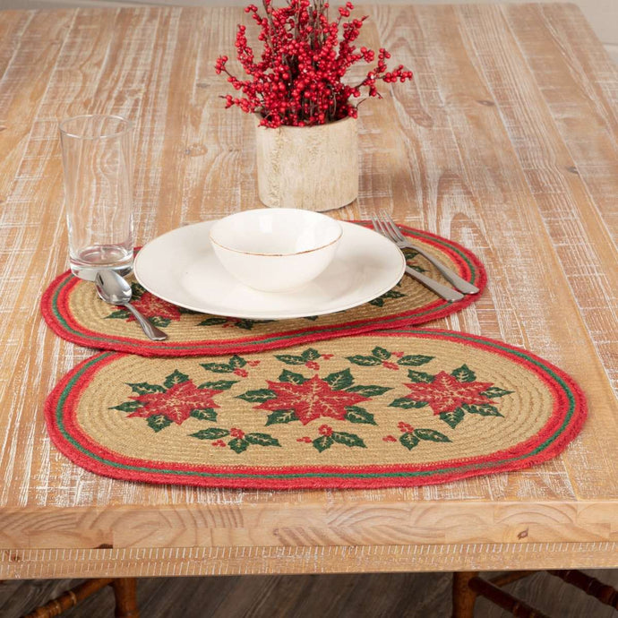 Poinsettia Jute Braided Placemat Set of 6 VHC Brands - The Fox Decor