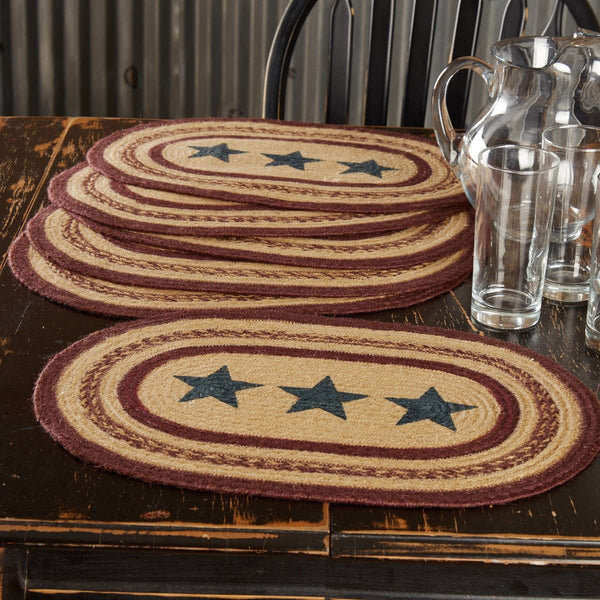 Potomac Stencil Stars Jute Braided Placemat Set of 6 VHC Brands - The Fox Decor