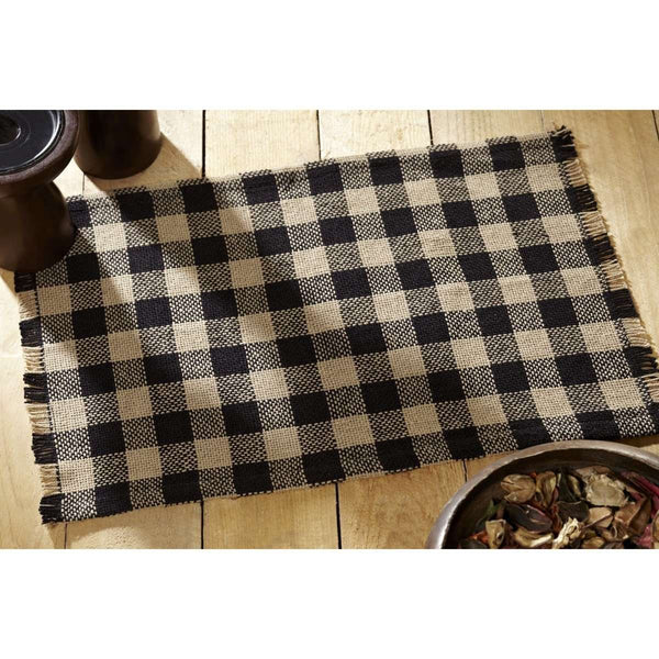 Burlap Black Check Placemat Fringed single