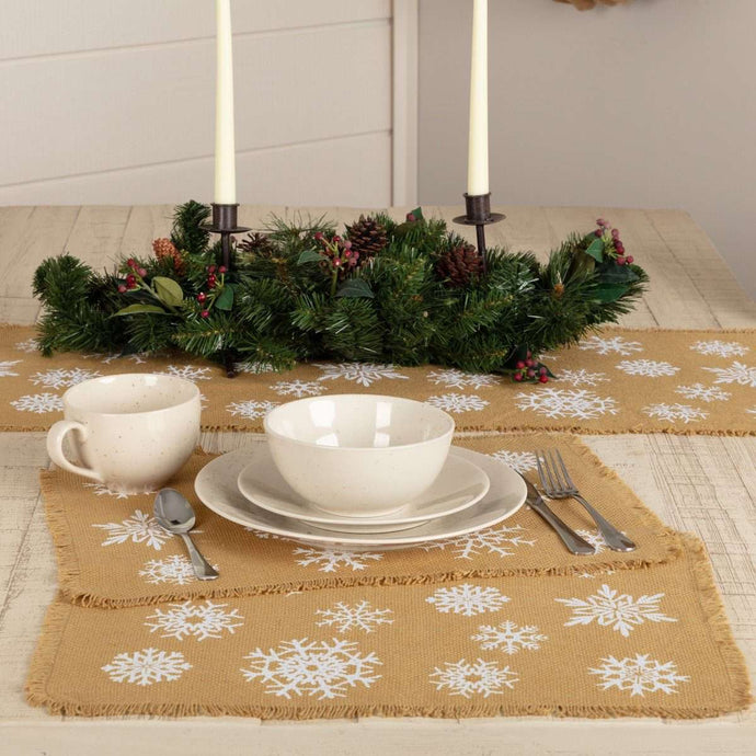Snowflake Burlap Natural Placemat