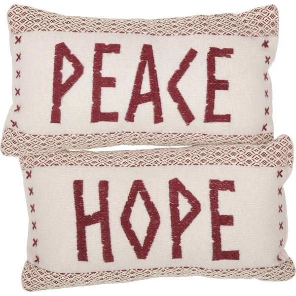 "Liv Pillow Set of 2 (Peace & Hope) 7""x13"" Country Creme, Crimson VHC Brands - The Fox Decor"