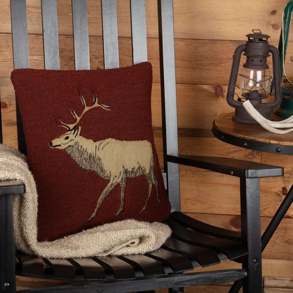 "Beckham Elk Hooked Pillow 18""x18"" - The Fox Decor"