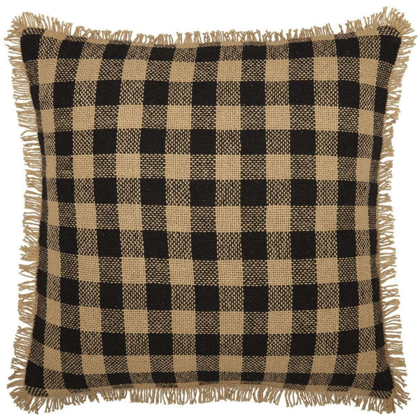 "Burlap Black Check Pillow 18"" Raven, Natural VHC Brands - The Fox Decor"