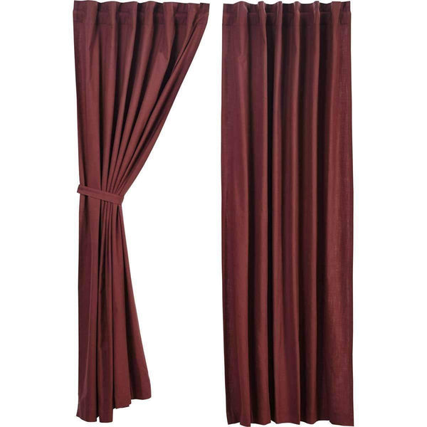 "Regina Red Panel Curtain Set of 2 84""x40"" VHC Brands - The Fox Decor"