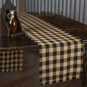 Burlap Black Check Runner Fringed 13x90 VHC Brands