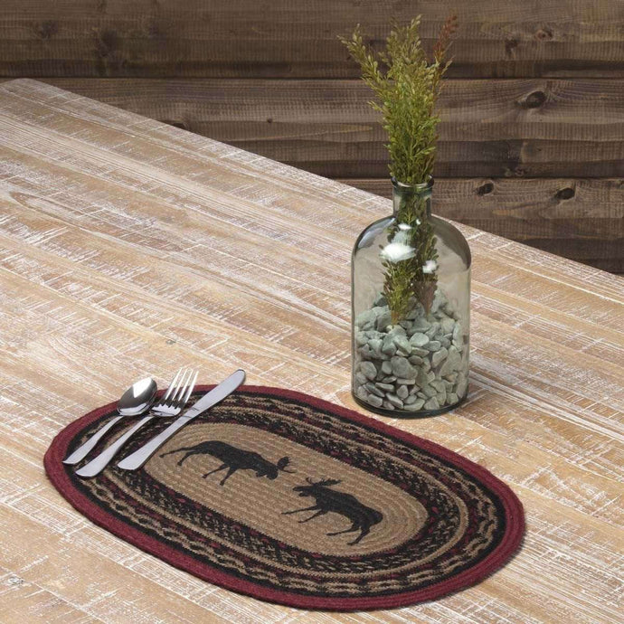 Cumberland Stenciled Moose Jute Braided Placemat Set of 6 - The Fox Decor