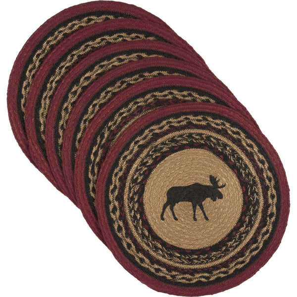 Cumberland Stenciled Moose Jute Braided Placemat Round Set of 6 VHC Brands - The Fox Decor