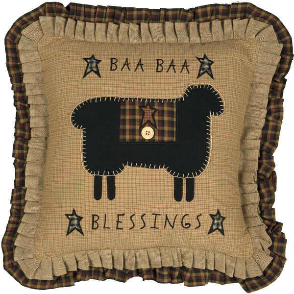 "Heritage Farms Baa Baa Blessings Pillow 18"" Mustard, Raven, Burgundy VHC Brands - The Fox Decor"