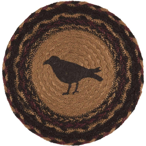 "Heritage Farms Crow Braided Jute Trivet 8"" VHC Brands"