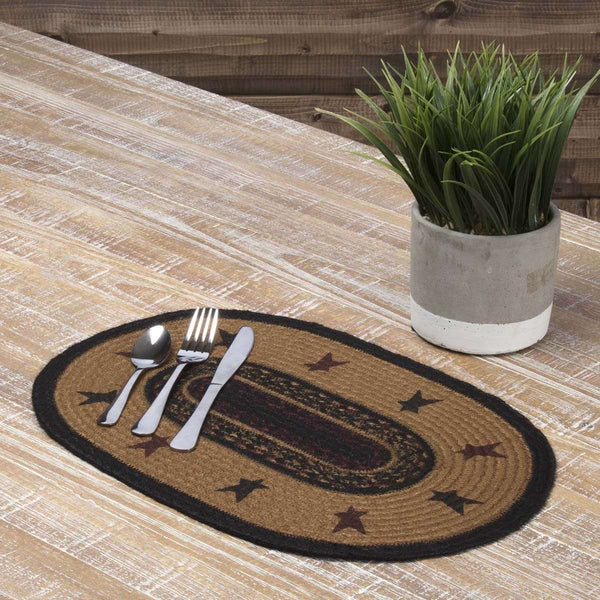 Heritage Farms Star Jute Braided Placemat Set of 6 VHC Brands - The Fox Decor