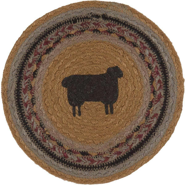 "Heritage Farms Sheep Braided Jute Trivet 8"" VHC Brands zoom"