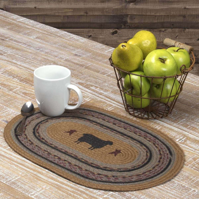Heritage Farms Sheep Jute Braided Placemat Set of 6 VHC Brands - The Fox Decor
