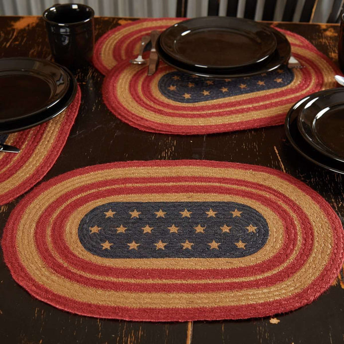 Liberty Stars Flag Jute Braided Placemat Set of 6 VHC Brands - The Fox Decor