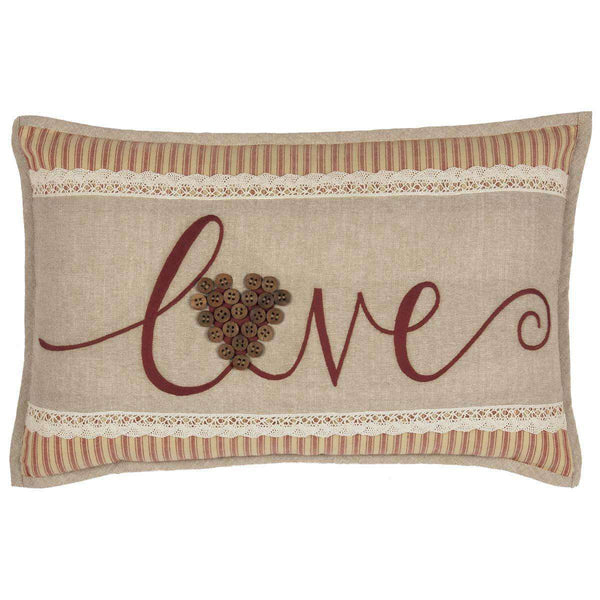 "Ozark Love Pillow 14""x22"" Barn Red, Beige, Semolina - The Fox Decor"
