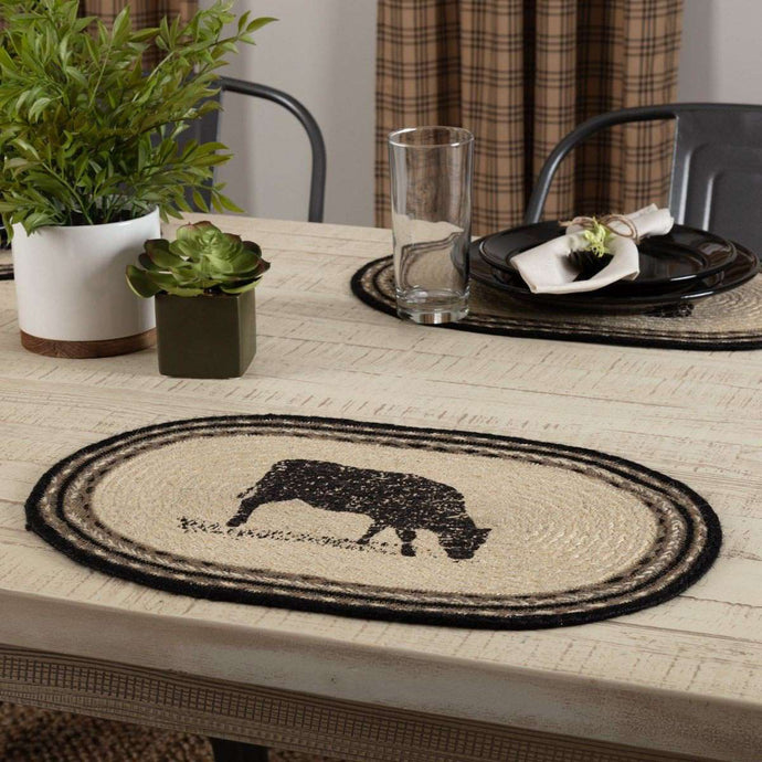 Sawyer Mill Cow Jute Braided Placemat Set of 6 - The Fox Decor