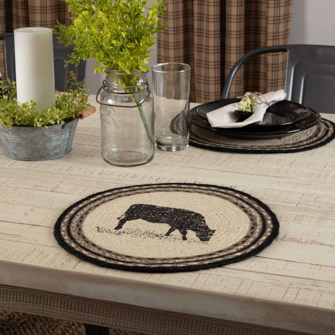 Sawyer Mill Charcoal Cow Jute Braided Placemat Round Set of 6 - The Fox Decor