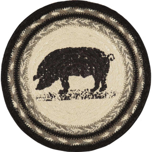 "Sawyer Mill Charcoal Pig Jute Trivet 8"" VHC Brands"
