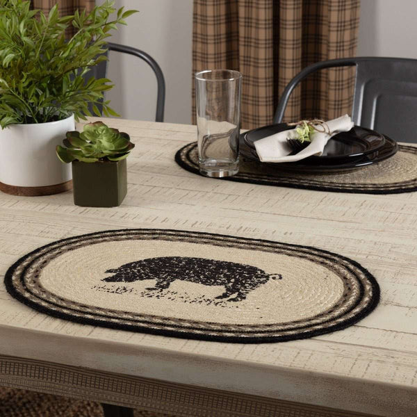 Sawyer Mill Charcoal Pig Jute Braided Placemat Set of 6 - The Fox Decor