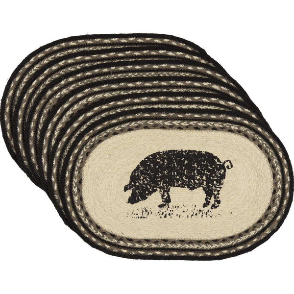 Sawyer Mill Charcoal Pig Jute Braided Placemat back