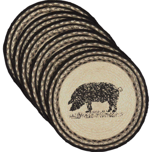 Sawyer Mill Charcoal Pig Jute Braided Round Placemat back