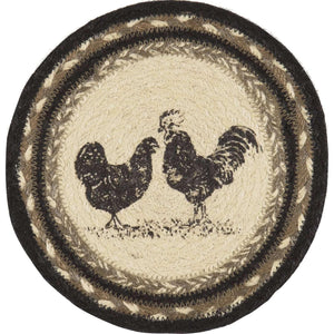 "Sawyer Mill Charcoal Poultry Jute Trivet 8"" VHC Brands"