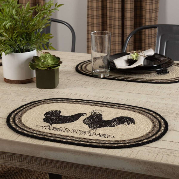Sawyer Mill Charcoal Poultry Jute Braided Placemat Set of 6 - The Fox Decor