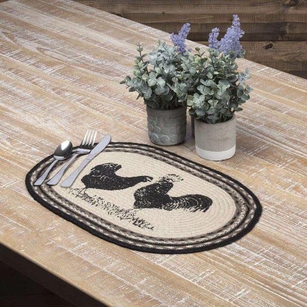 Sawyer Mill Charcoal Poultry Jute Braided Placemat back