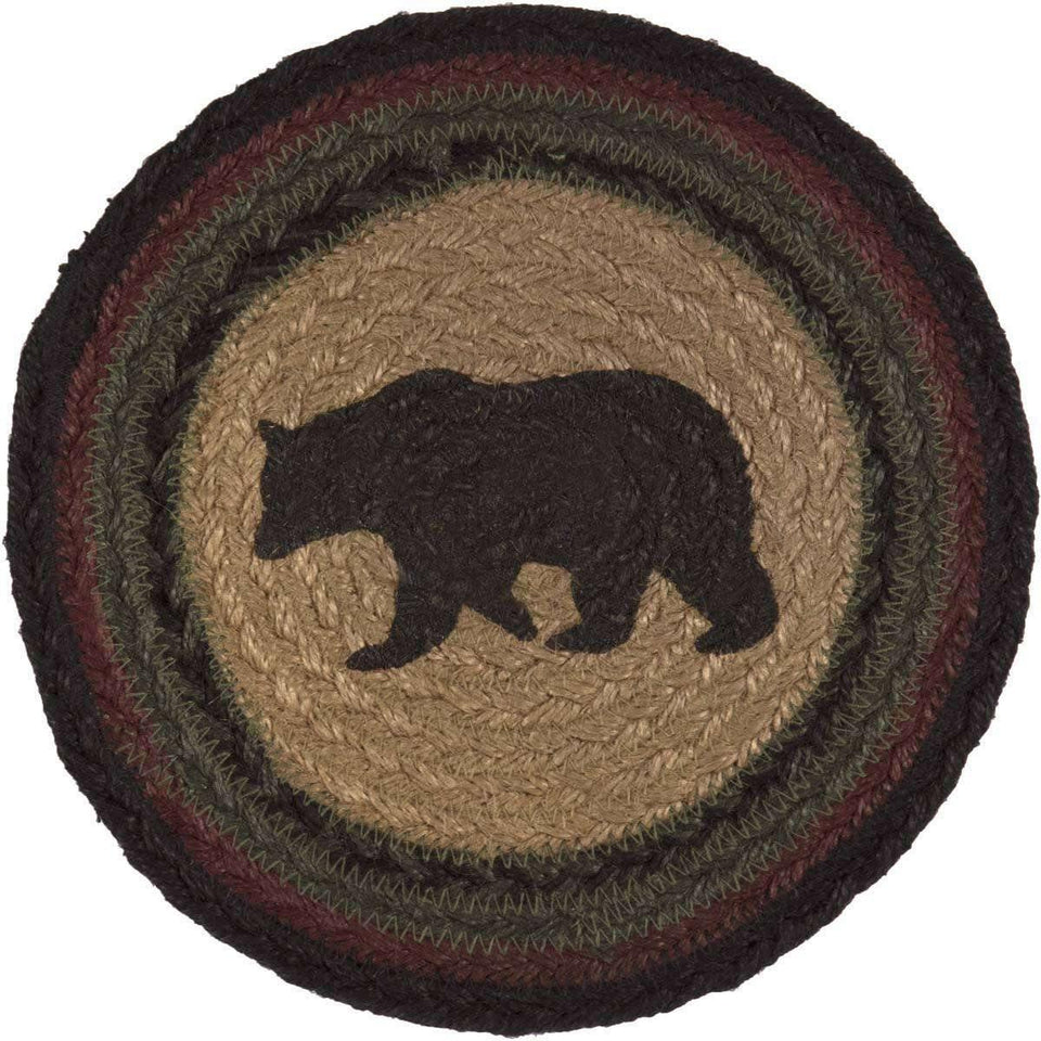 "Wyatt Stenciled Bear Jute Trivet 8"" VHC Brands"