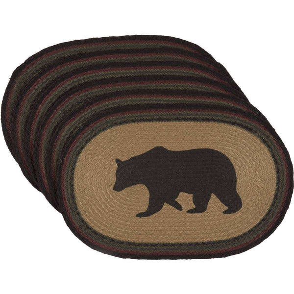 Wyatt Stenciled Bear Jute Braided Placemat Set of 6 - The Fox Decor