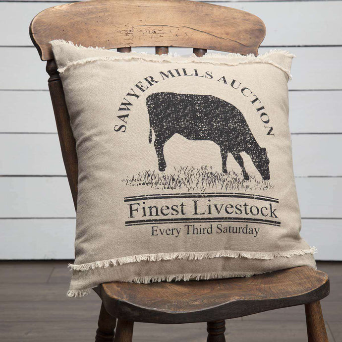 Sawyer Mill Charcoal Cow Pillow 18