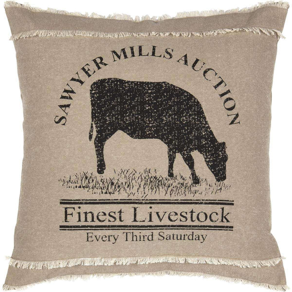 "Sawyer Mill Charcoal Cow Pillow 18"" - The Fox Decor"