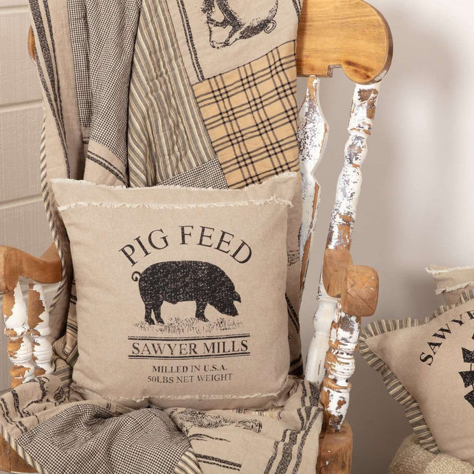 Sawyer Mill Charcoal Pig Pillow 18