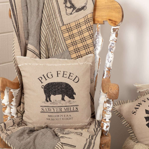 "Sawyer Mill Charcoal Pig Pillow 18"" - The Fox Decor"