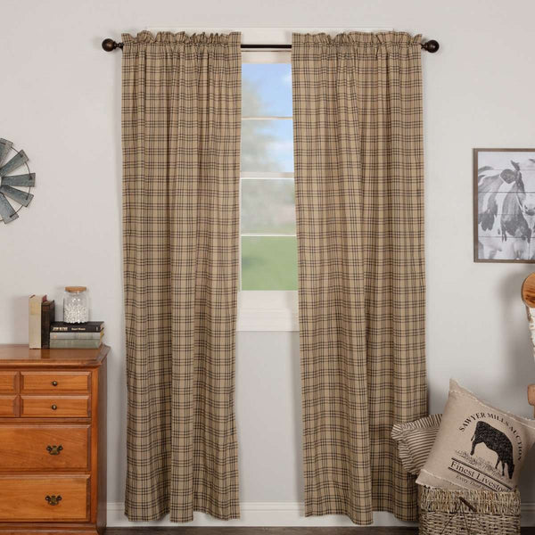 Sawyer Mill Charcoal/Blue/Red Plaid Panel Curtain Set of 2 84x40