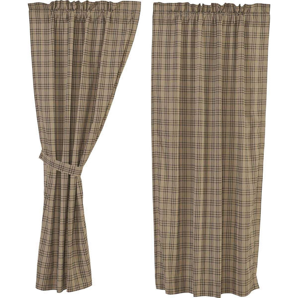 "Sawyer Mill Charcoal Plaid Short Panel Country Curtain Set of 2 63""x36"" - The Fox Decor"