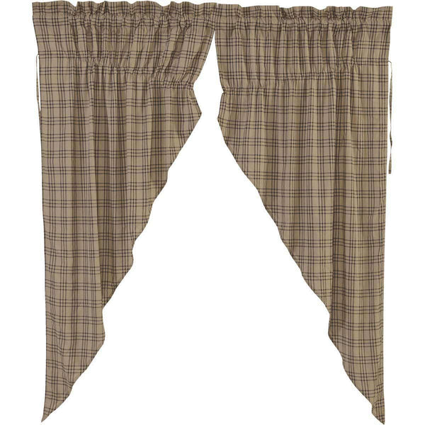 Sawyer Mill Charcoal Plaid Prairie Short Panel Curtain Set of 2 63x36x18
