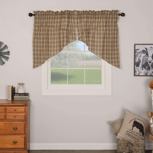 Sawyer Mill Charcoal Plaid Prairie Swag Curtain Set of 2 36x36x18 VHC Brands