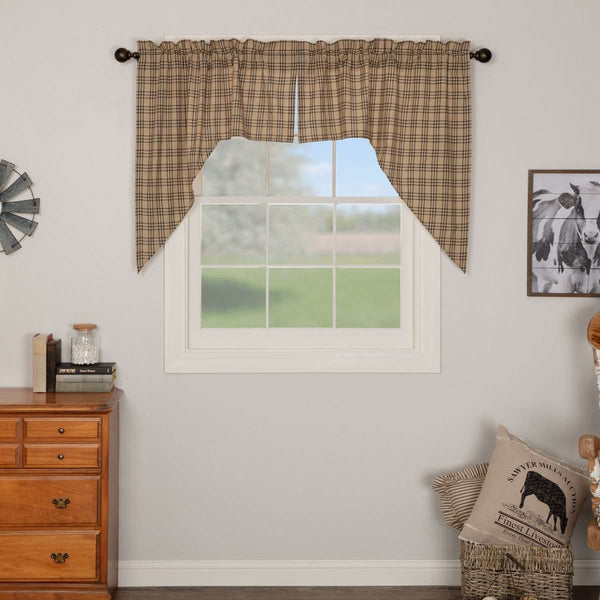 "Sawyer Mill Charcoal Plaid Swag Curtain Set 36"" x 36"" VHC Brands - The Fox Decor"