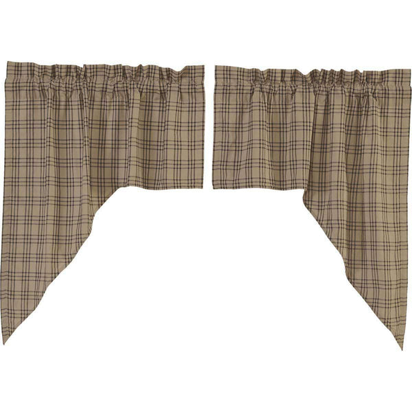 Sawyer Mill Charcoal Plaid Swag Curtain Set of 2 36x36x16
