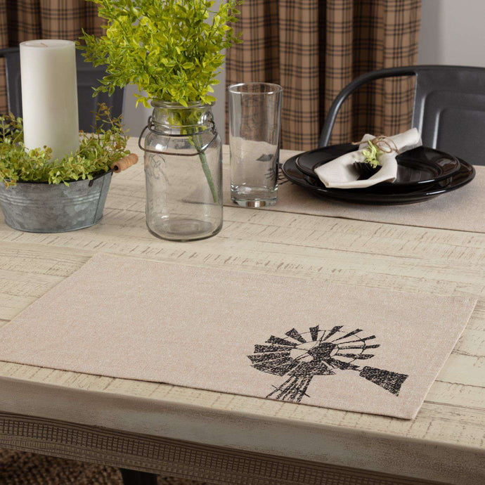 Sawyer Mill Charcoal Windmill Cotton Placemat