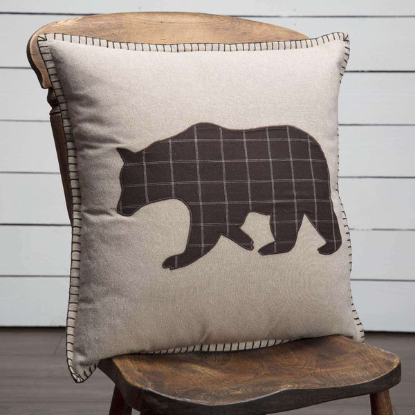 "Wyatt Bear Applique Pillow 18"" - The Fox Decor"