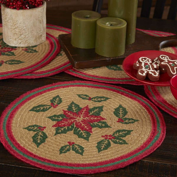 Poinsettia Jute Braided Placemat Round Set of 6 VHC Brands - The Fox Decor