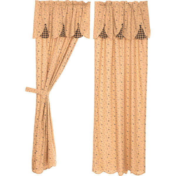 "Maisie Panel Curtain with Attached Scalloped Layered Valance Country Style Curtain Set of 2 84""x40"" - The Fox Decor"