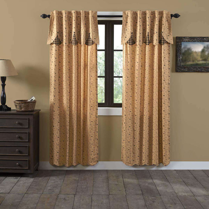Maisie Panel Curtain with Attached Scalloped Layered Valance Country Style Curtain Set of 2 84