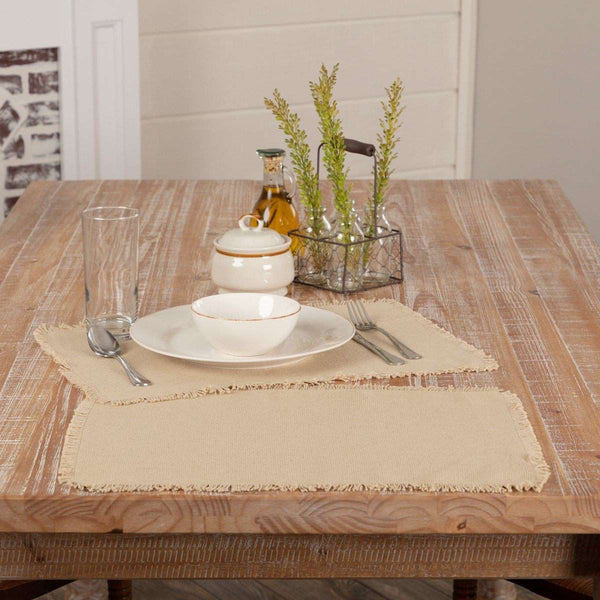 Burlap Natural/Vintage White Placemats Set of 6 Fringed - The Fox Decor