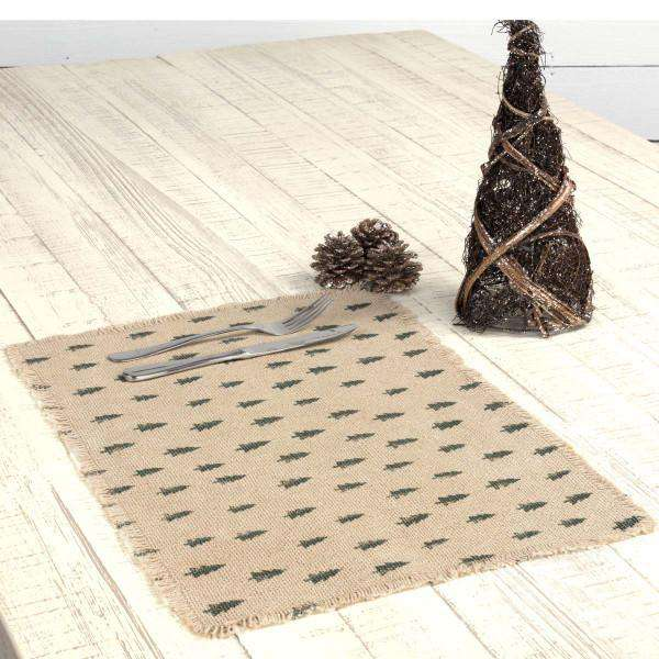 Vintage Burlap Tree Cotton Placemat
